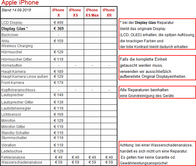 iPhone Preisliste x180914